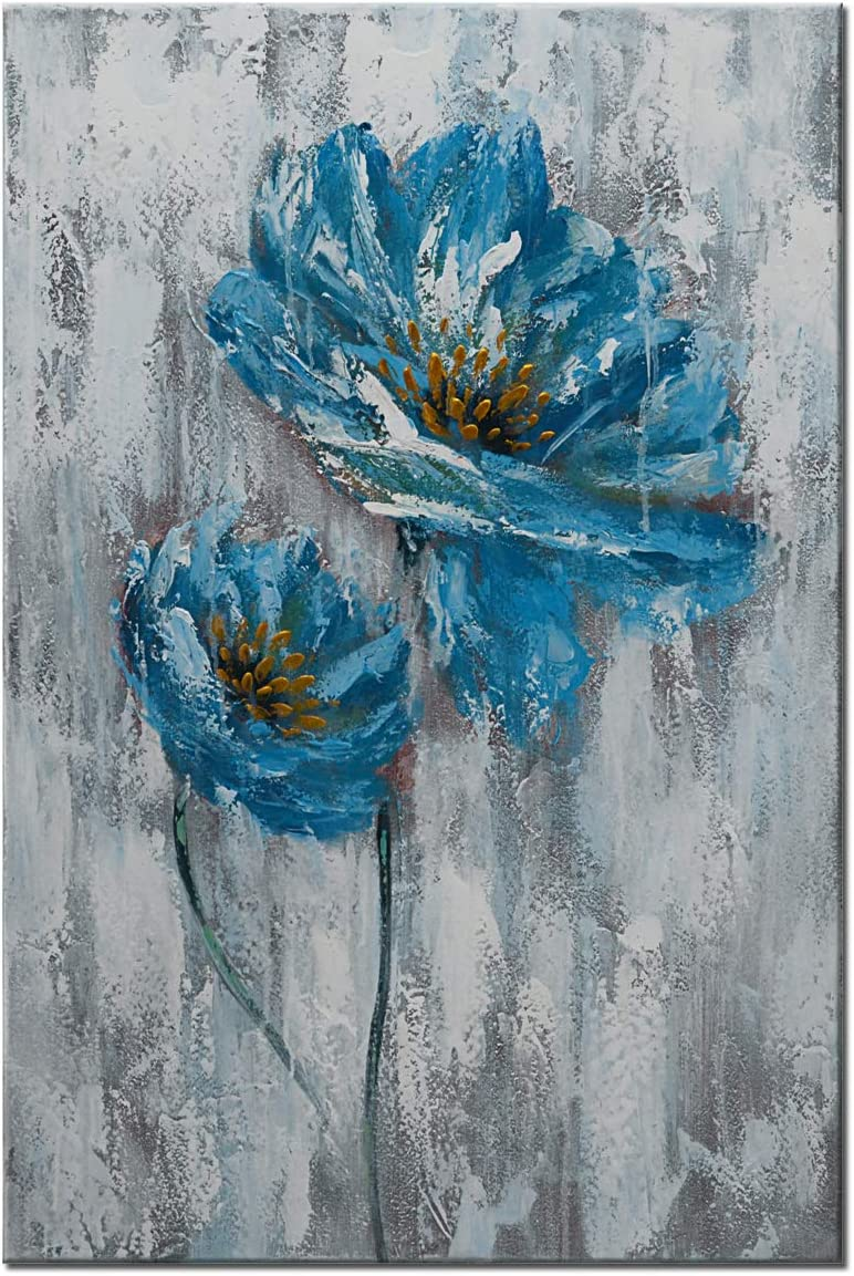 Hand Painted Flower Paintings on Canvas Blue White Floral Wall Art Modern Abstract Poppy Artwork Framed Picture Home Decor 24x36in
