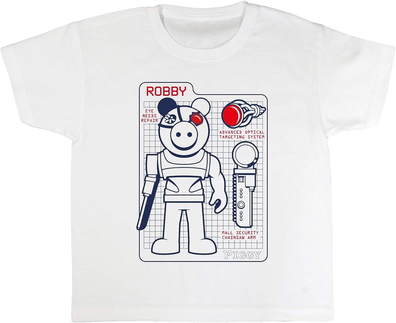 Mode Top /Âge 4-15 Merchandise Officiel V/êtements pour Enfants Roblox Cadeaux Gamer Popgear Piggy Robby Sp/écifications Techniques Les Filles T-Shirt badine lanniversaire Id/ée Cadeau