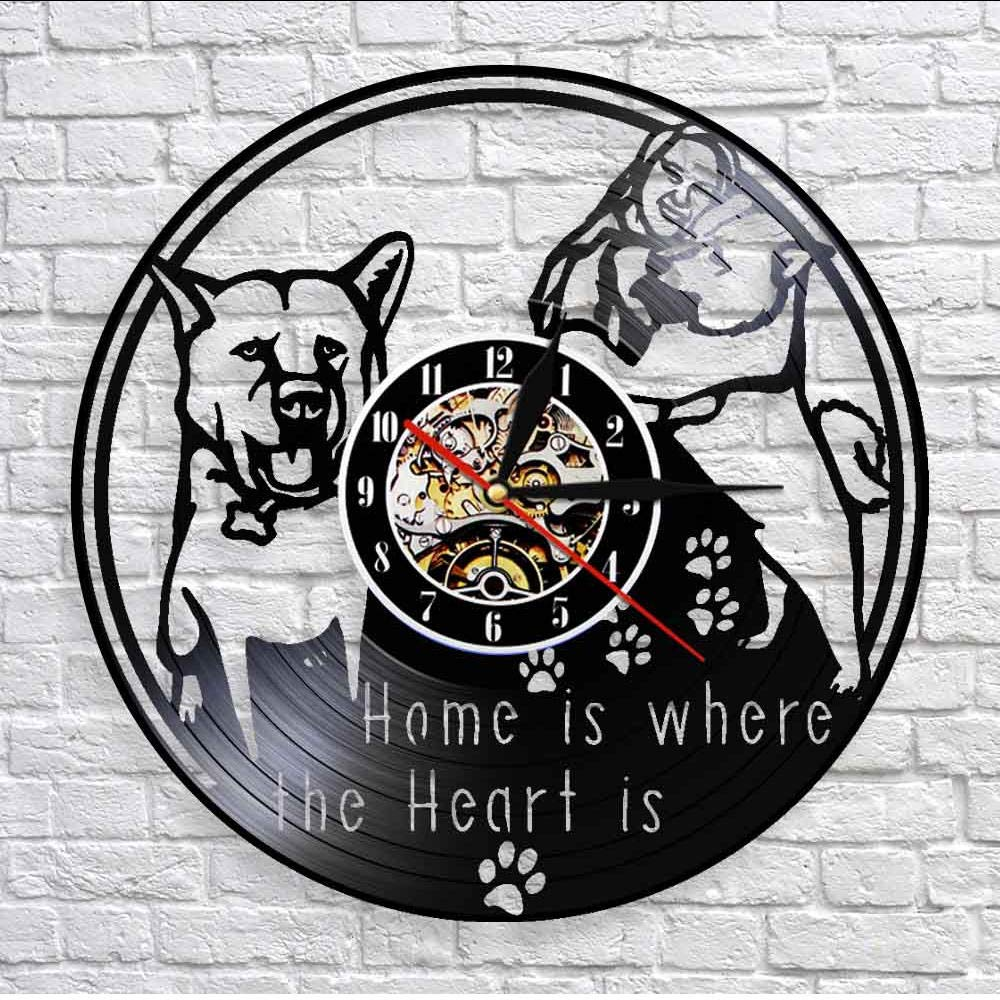 mubgo Wall Clocks Home is Where The Heart is Inspirational Quote Wall Decor Wall Clock Housewarming Vintage Vinyl Record Wall Clock Lighted