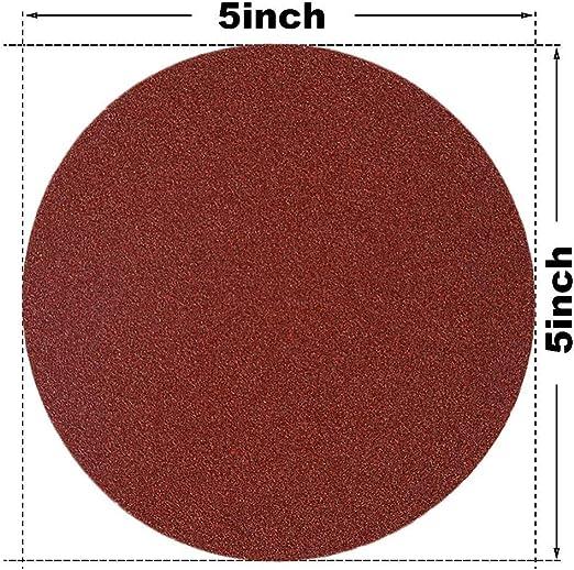 50 PCS 5-Inch NO-Hole PSA Aluminum Oxide Sanding Disc Self Stick 10 Each of 40 60 80 100 120