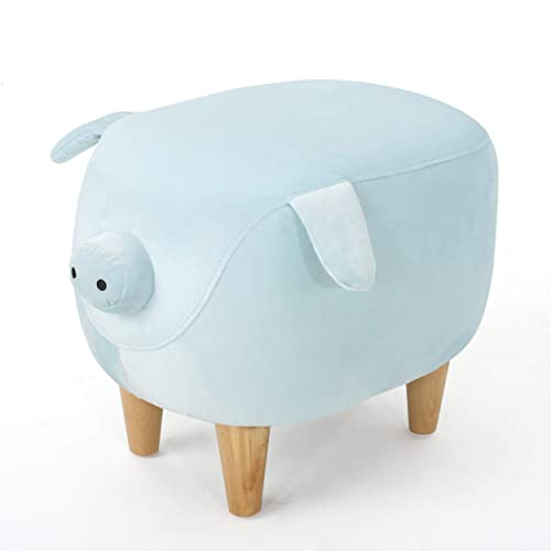 Light Blue Velvet Pig Ottoman