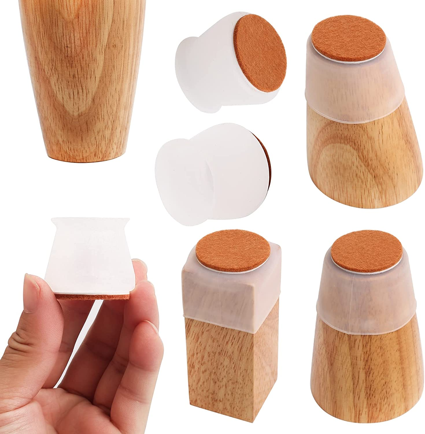 Chair Leg Cover Furniture Pads,Silicone Floor Protectors 24 PCS,Silicone Furniture Protection Cover with Cotton Pad, Floor Protectors Anti-Slip Chair Floor Pads for Round or Square