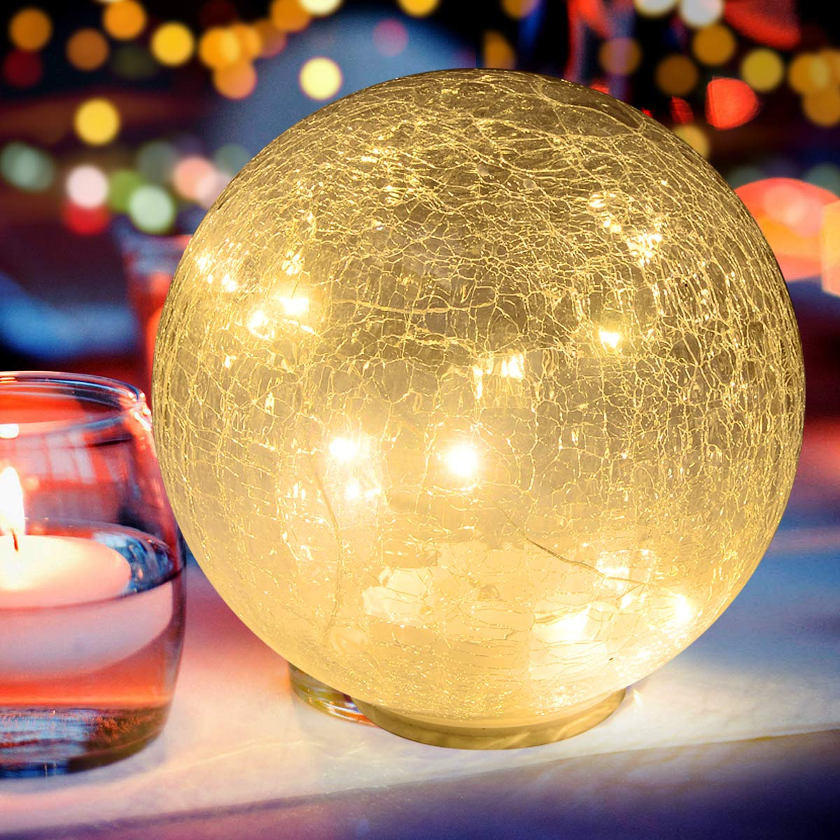 Glass Ball LED Light Wireless Crackle Glass Light Warm White Night Lamp for Bedroom Living-room Dresser Nursery Kitchen Garden Restaurant Modern Glass Decoration Glass Craft