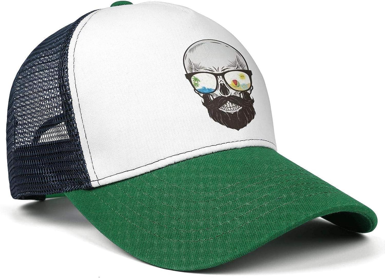 Death Metal Skull Riding Unicorn Rainbow Women Men Mesh Ball Cap Adjustable Snapback Sports Cowboy Hat