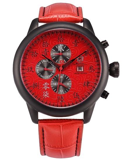 Lucky Seven Deportivos Relojes De Pulseras Hombre Piel Día Fecha SH125: Amazon.es: Relojes