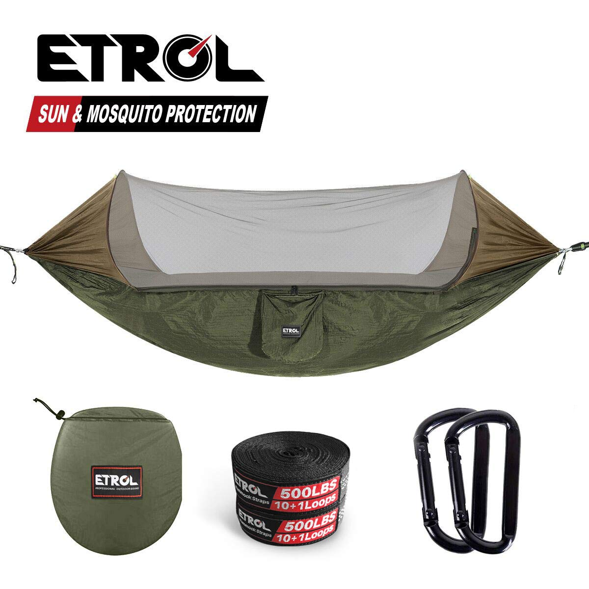 ETROL Upgraded 2 in 1 Large Camping Hammock with Mosquito Net, Pop-Up Lightweight Portable Hanging Hammocks with Tree Straps, Swing Sleeping Hammock with Net for Outdoor, Hiking, Backpacking, Travel by ETROL