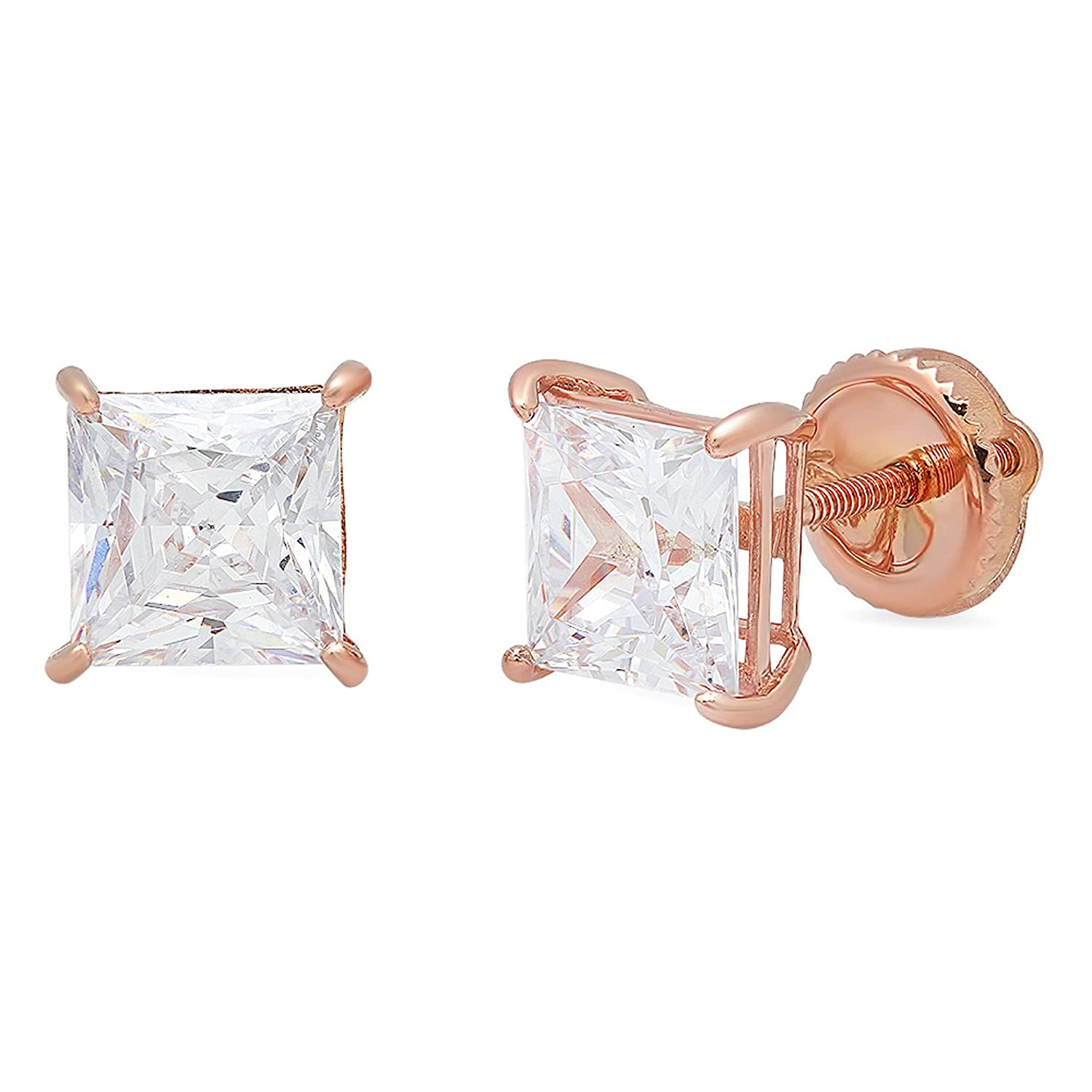 Clara Pucci 2.90 CT Princess Brilliant Cut Solitaire Stud Earrings in 14k Rose Gold Screw Back