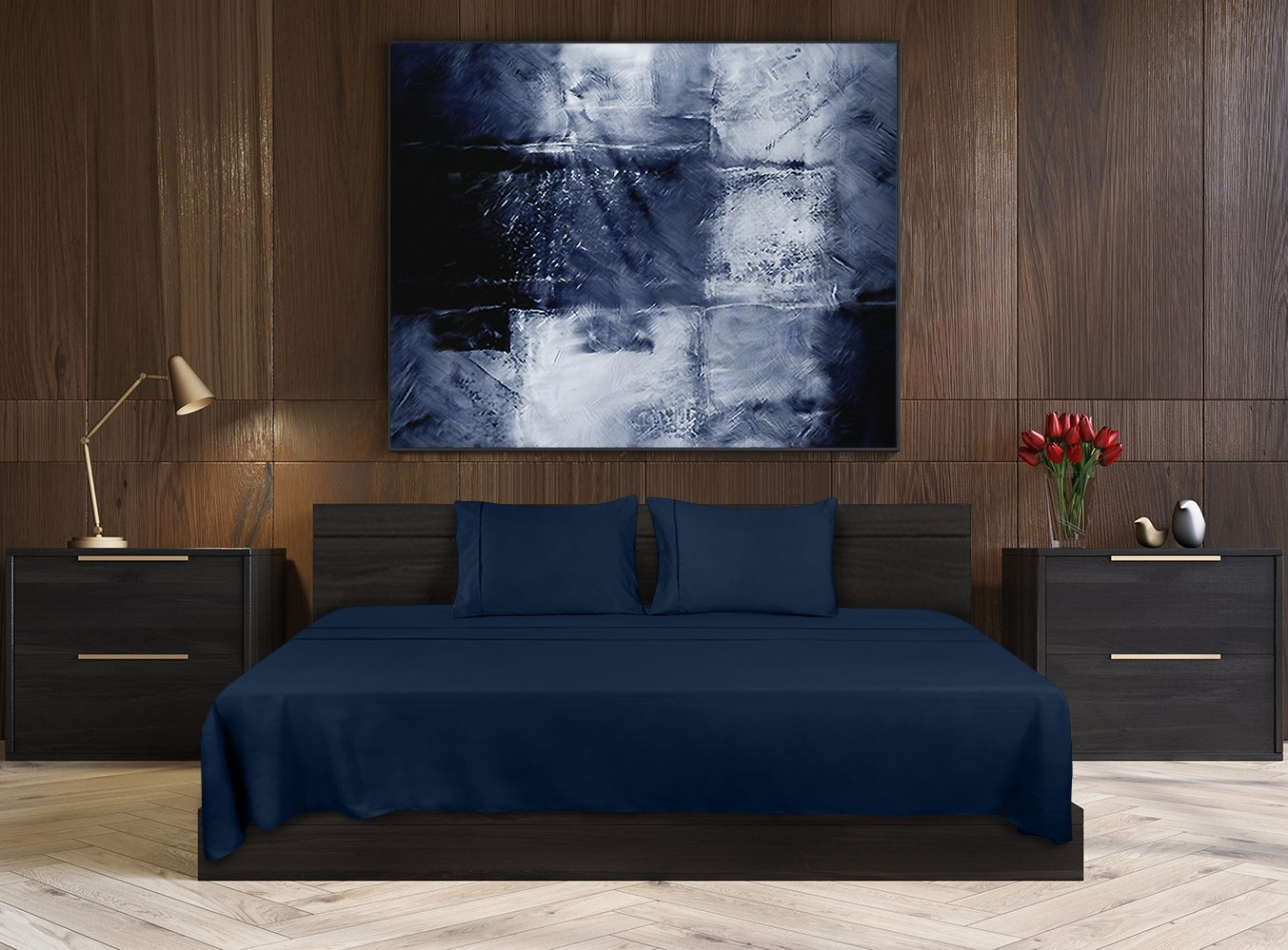 Utopia Bedding Soft Brushed Microfiber Wrinkle Fade and Stain Resistant 4-Piece King Bed Sheet Set - Navy