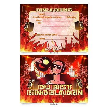 Einladungskarten 8 Stuck Zum Ausfullen Fur Geburtstag Dj Musik