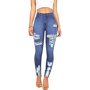 cc50b737861e Vibrant Womens Juniors Classic High Waist Denim Skinny Jeans 1 Dark ...