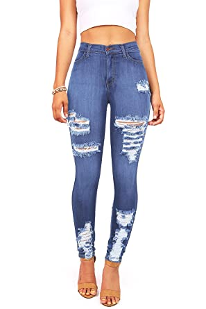 39f6bda9da65d6 Vibrant Women's Juniors High Waist Jeans Stretchy Ripped Jeans at Amazon Women's  Jeans store