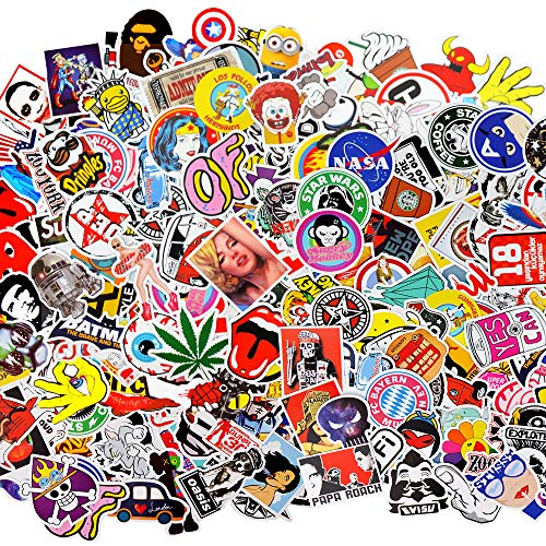 LUDILO 200pcs Stickers Vinyl Laptop Stickers Luggage Decals Car Stickers Hippie Waterproof Vinyl Decals Motorcycle Bicycle Decals Skateboard Graffiti Patches for Adults Kids Party Favors Supplies