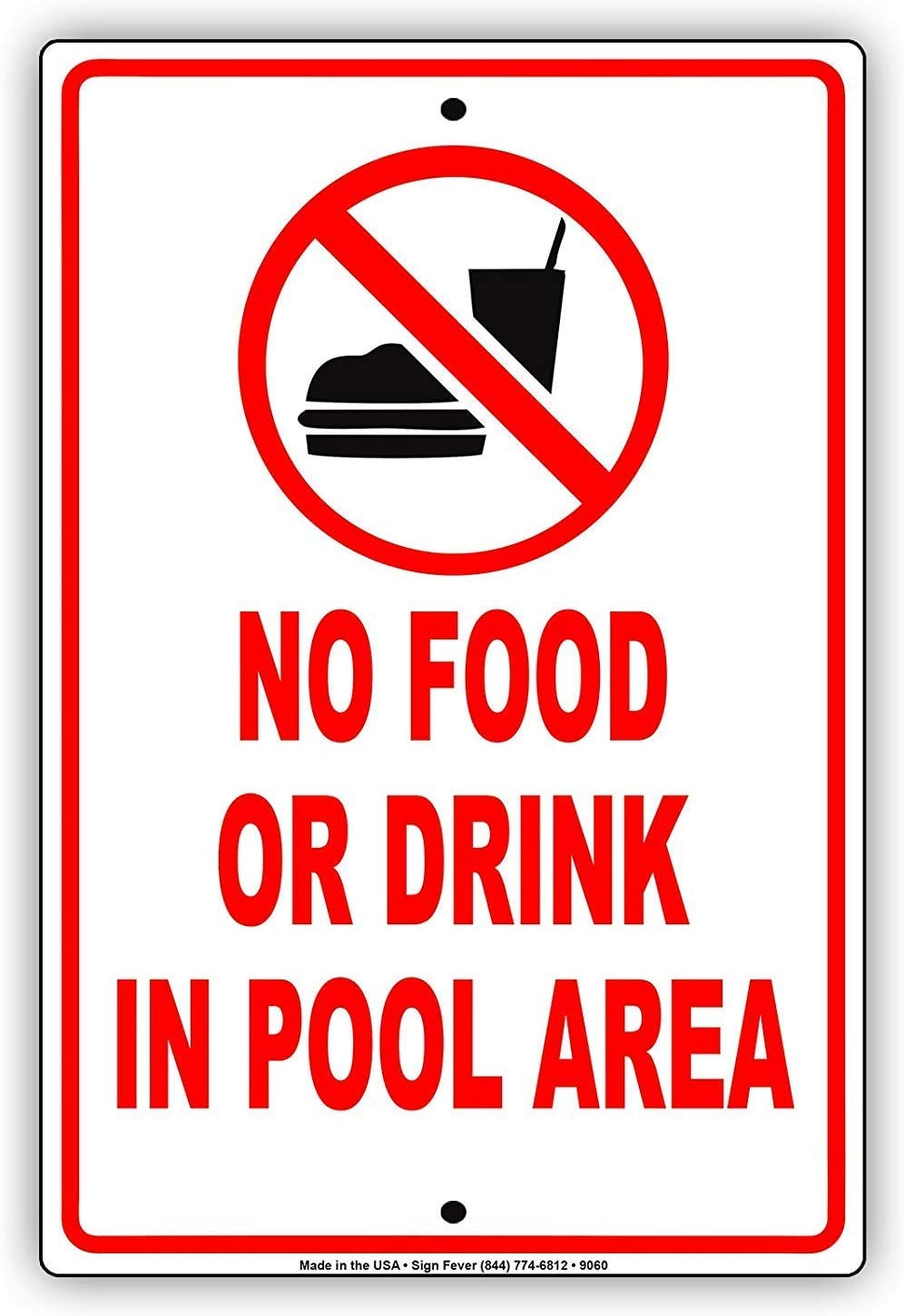 Lilyanaen New Metal Sign Aluminum Sign No Food Or Drinks in Pool Area Swimming Beach Rules Sign for Outdoor & Indoor 12