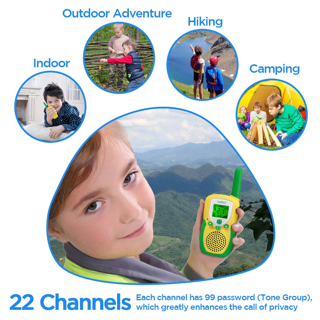 Lydaz Walkie Talkies for Kids with 2'' Backlit LCD Flashlight - 22 Channels 2 Way Radios 3 Miles Range Long Distance - Toys for Boys Girls Outdoor Adventures Hiking Camping - 2 Pack by Lydaz (Image #5)