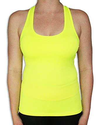 Neon Womens Athletic Racerback Spandex Workout Tank Top M Neon