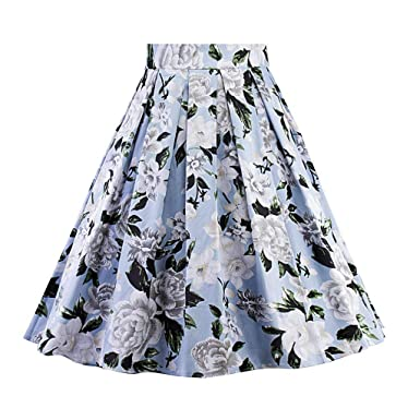 530c36058 Women's Vintage A-line Dresses Floral Print High Waist Pleated Flared Midi  Skirt Billowing Skirts at Amazon Women's Clothing store: