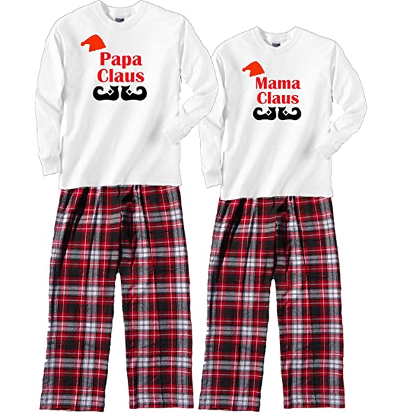 febf2f7ef9c Amazon.com  Fun Couples Matching Christmas Pajamas - Mama Claus and Papa  Claus  Clothing