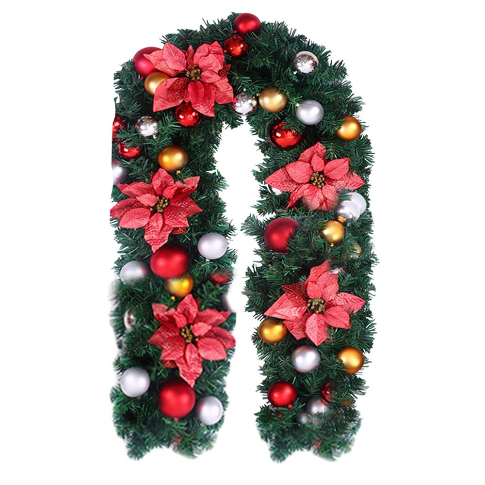 Hootech Christmas Garland Decorations Indoors Outdoor 6 Feet Artificial Wreath with Berries and Pinecones Xmas Decorations Home Decor (Gold)