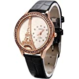 JewelryWe Mother Day Gift Bling Rhinestone Accented Eiffel Tower Leather Strap Watch Ladies Women Watches