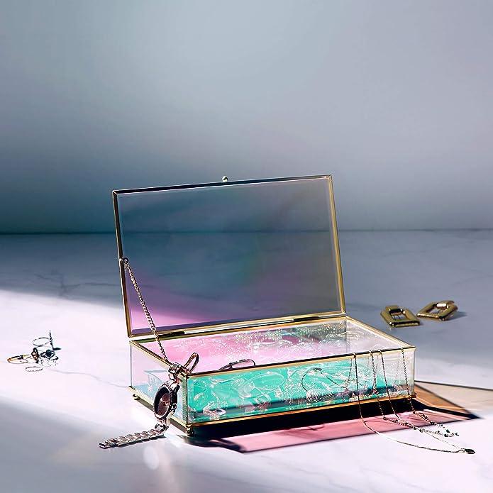 Beautify Caja de Almacenamiento de Tocador Holográfico - Caja de Exhibición de Joyería para Tocador con Marco de Latón - Caja de Cosméticos y Belleza para Mesa: Amazon.es: Joyería