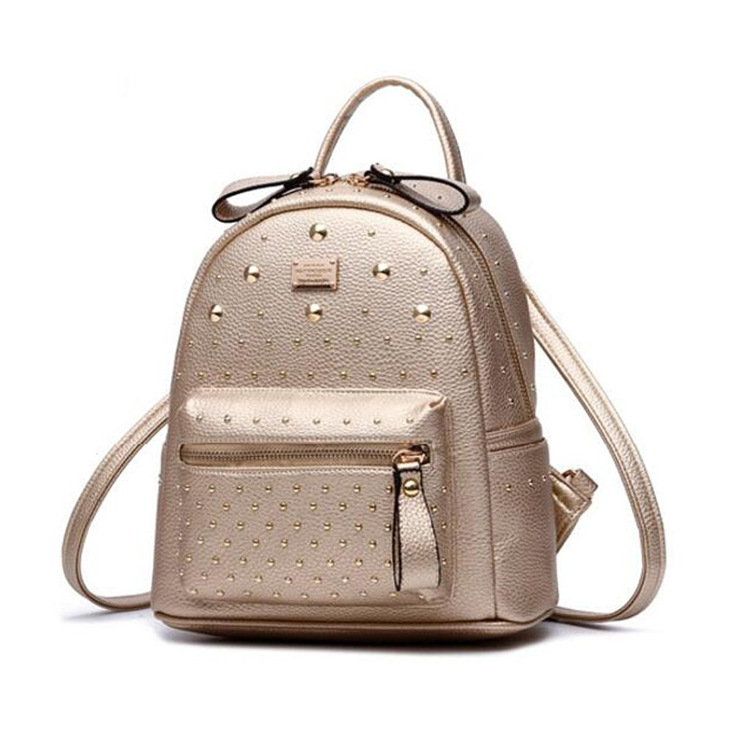 Fashion Studded Leather Backpack Casual Daypack Cute Mini Backpack for Girls (Gold)