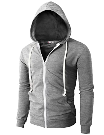 H2H Mens Fashion Lightweight Zip-up Hoodie with Pocket Of Various ...
