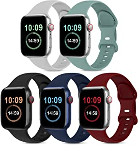 5 Pack Bands Compatible with Apple Watch Band 38mm 40mm, Soft Silicone Sport Replacement Strap Compatible with iWatch Series 6 5 4 3 2 1 SE Women Men Black/Wine Red/Cactus/Grey/Navy Blue 38mm/40mm S/M