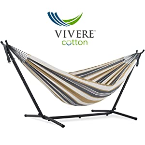 Vivere Double Cotton Hammock with Space Saving Steel Stand, Desert Moon (450 lb Capacity - Premium Carry Bag Included)