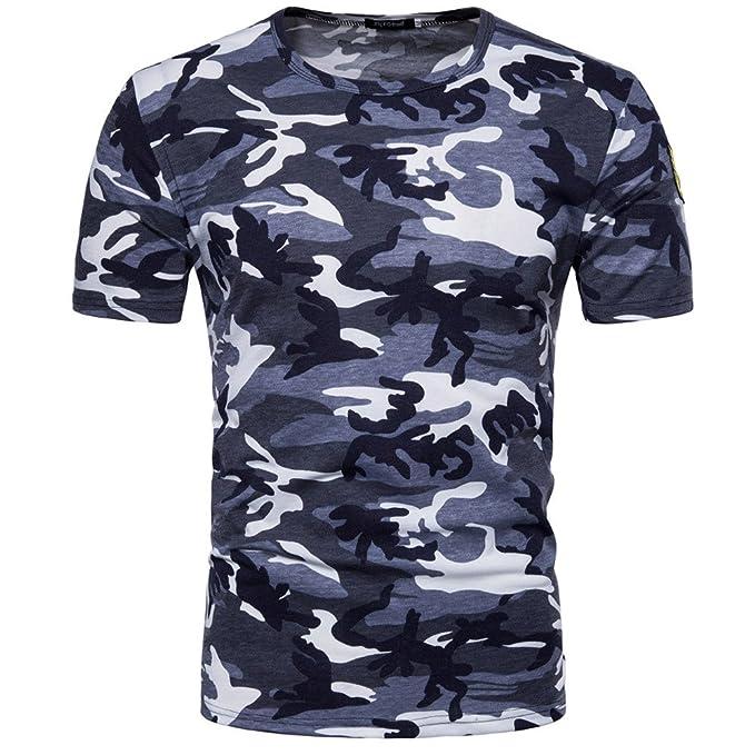 a1f5f2bbc4 PARVAL Camisa con Cuello Redondo y Estampado de Camuflaje para Hombre  Camisa de Manga Corta Sudadera Deportiva Ocio Tops Blusa Transpirable Suave  Cómoda  ...
