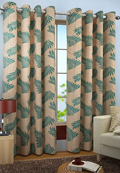 Homefab India Candy 2 Piece Polyester Curtain Set - 7ft, Aqua Blue