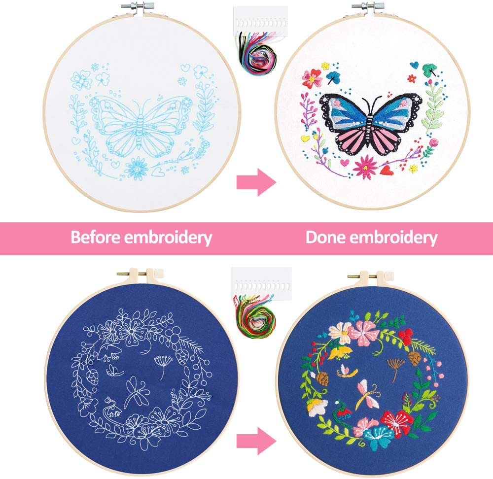 Stamped Embroidery Kits for Beginners Adults 2 Sets Embroidery Starter Kit with Pattern and Instructions Butterfly and Flower Patterns Cross Stitch Kit with All Tools