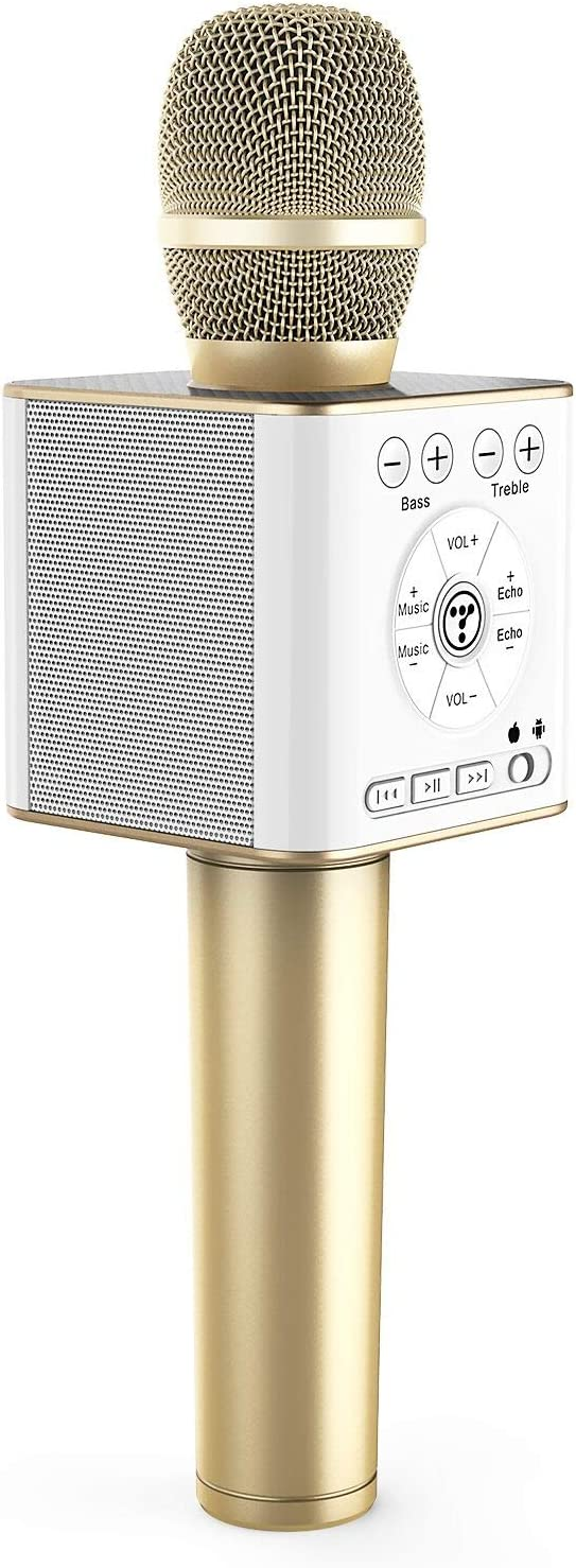 TOSING 04 Wireless Bluetooth Karaoke Microphone Speaker 3-in-1 Handheld Sing & Recording Portable KTV Player Mini Home KTV Music Machine System for iPhone/Android Smartphone/Tablet Compatible (Gold)