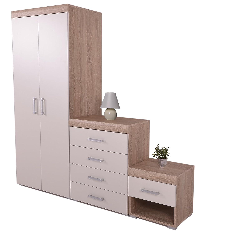 DP Bedroom Furniture 3 Piece Set Chest Drawers Bedside Table & Wardrobe White & Oak