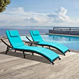 GUNJI Patio Chaise Lounge Sets Adjustable Oudoor Lounge Chair Modern Outdoor Furniture Set PE Wicker Rattan Backrest…