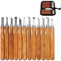 12PCS Juego herramientas talla madera cuchillo de mano cinceles de madera profesionales estuches y sacapuntas para herramientas bricolaje para trabajar la madera acero alto carbono