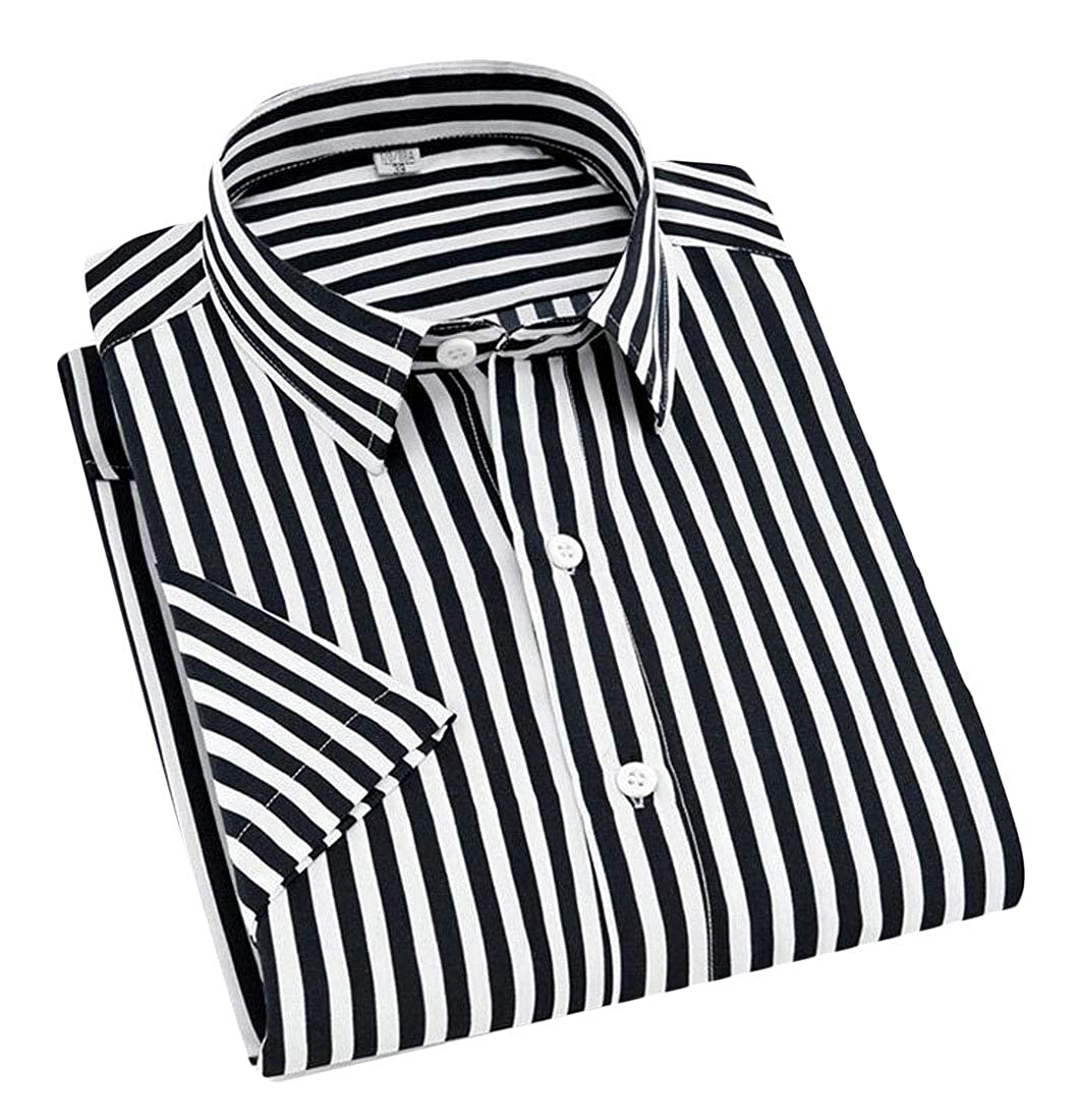 Joe Wenko Men Striped Lapel Button Front Short Sleeve Business Casual Shirts