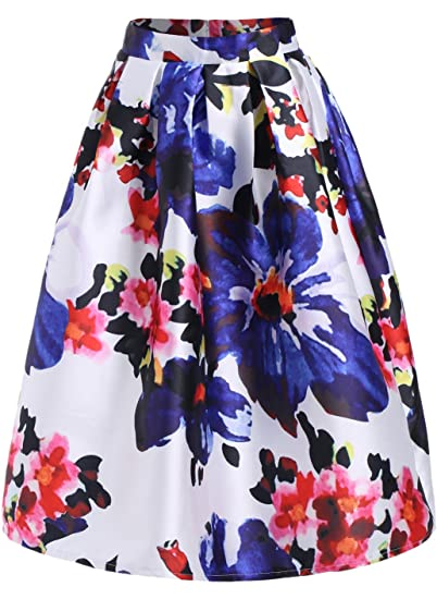 668d73635 Lingswallow Women's Multicolor Floral Printed Pleated A-Line Flare ...