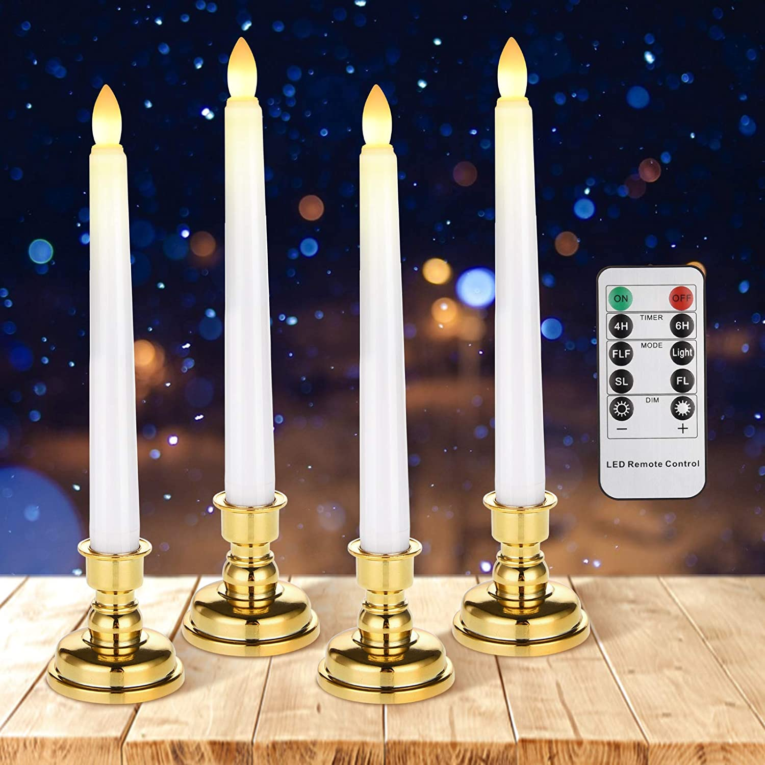 Flameless Taper Candles, Cimetech Battery Operated LED Candle Light with Remote Timer for Dinner Churches Table Weddings Birthday Party Decor(Pack of 4)