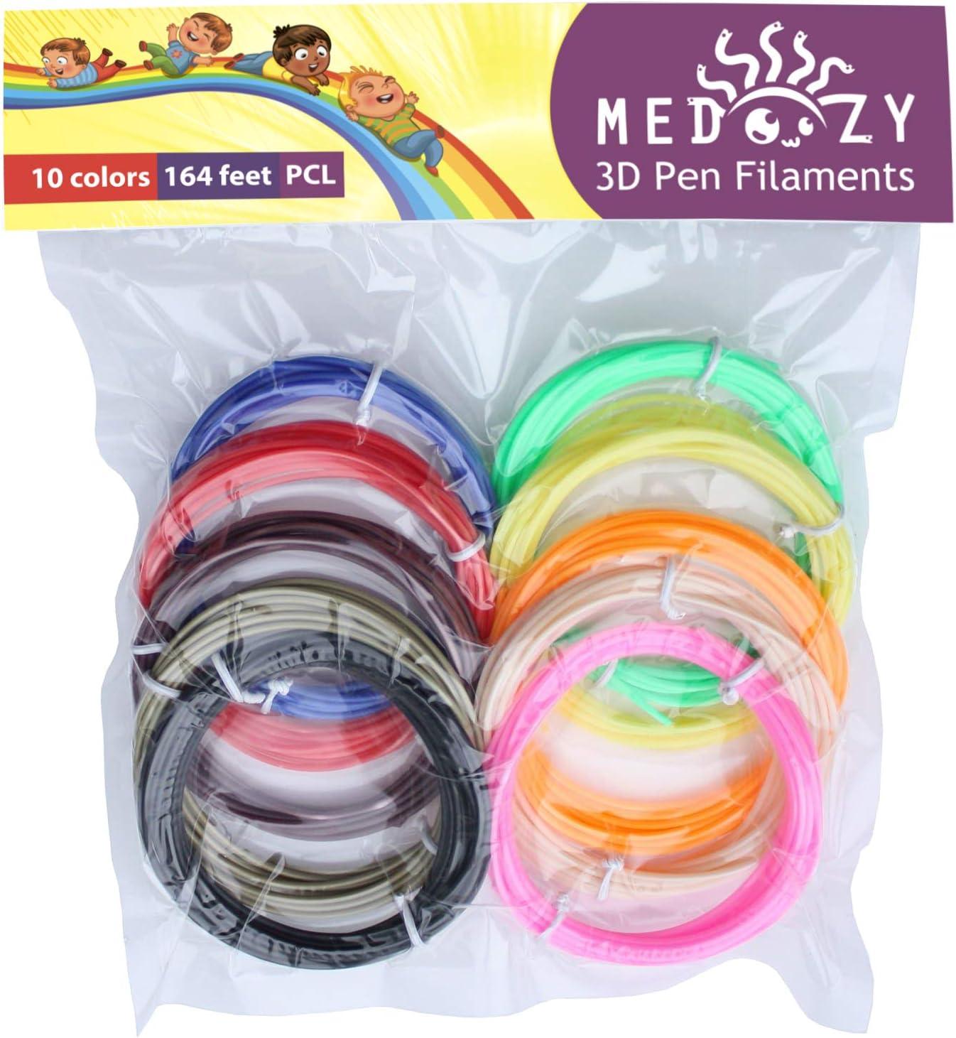 Filamento PCL para Pluma 3D MeDoozy Repuestos de Filamento 3D Ecol/ógico 10 Colores 5m Cada uno Filamento de Impresora 1.75mm Filamento de Impresi/ón 3D Recambio de Pluma 3D Seguro para Ni/ños