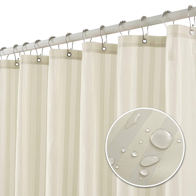 Subrtex Bathroom Waterproof Stripe Shower Curtain 72 * 72'' (Beige)