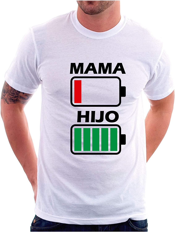 Blanca, M - Entallada Custom Vinyl Camiseta Dia de la Madre Bateria Madre e Hijo