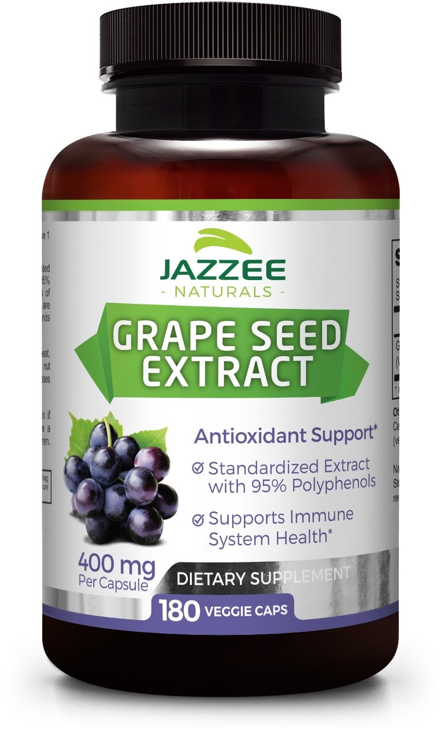 Grape Seed Extract | Maximum Strength | 400 mg | 180 Veggie Caps | 6 Month Supply | 95% Proanthocyanidins | All Natural | Vegetarian / Vegan