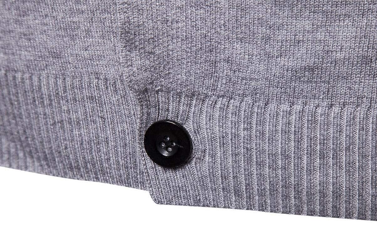 Jaycargogo Mens V Neck Button Up Light Weight Sweater Ribbing Edge Cardigan