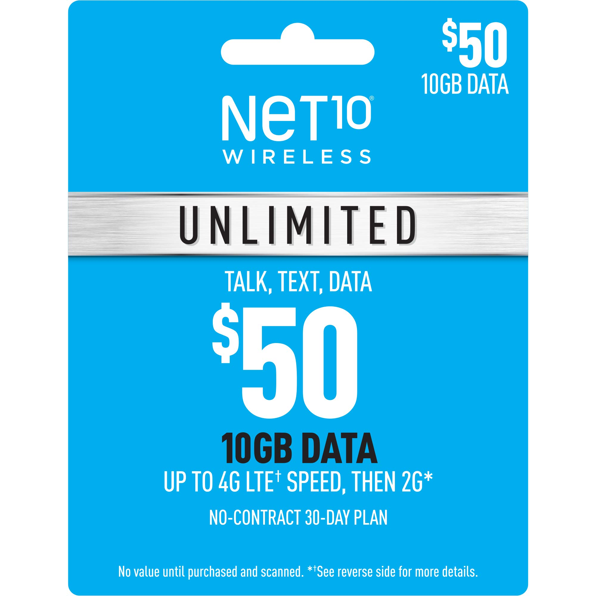 Net10 Wirelss $50 Unlimited 10GB Plan Refill Card (Mail Delivery) by Unknown