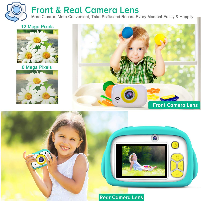 Green FISHOAKY Appareil Photo Numerique Rechargeable Cam/éra Num/érique pour 3 /à 10 Ans Enfants 12 MP Appareil Photo Enfants avec Selfie // Zoom x4 // 2 Pouces LCD // 1080P HD