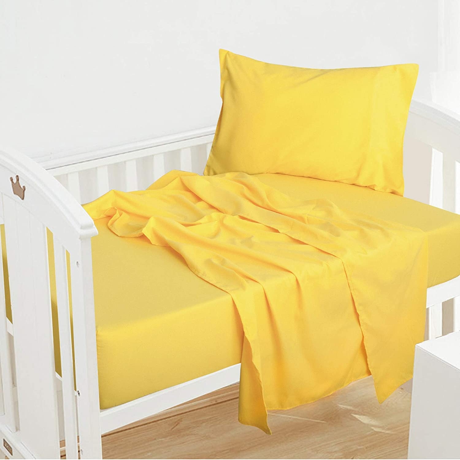 NTBAY 3 Piece Microfiber Yellow Bed Sheet