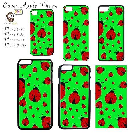 Cover Per Apple Iphone Stampa Coccinelle Sfondo Verde Acceso