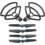 Rantow 4 pezzi di protezione rapida per elica protettiva + 4 pezzi CW CCW eliche pieghevoli per DJI Spark Drone (Yellow stripe propeller + Propeller guard)