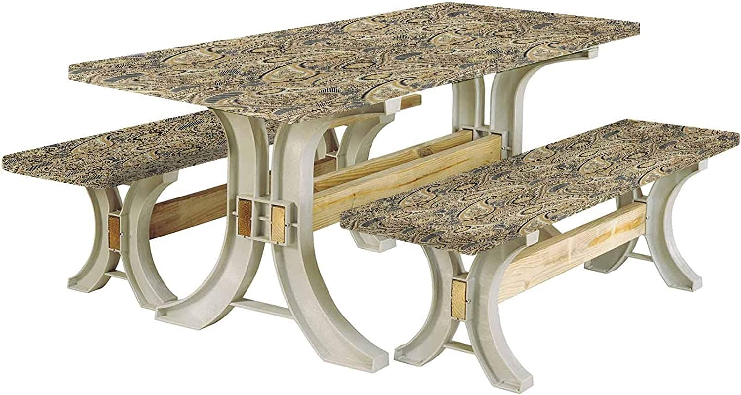 LCGGDB Earth Tones Picnic Table & Benches Cover,Iranian Pattern Traditional Paisley Welsh Pears 72