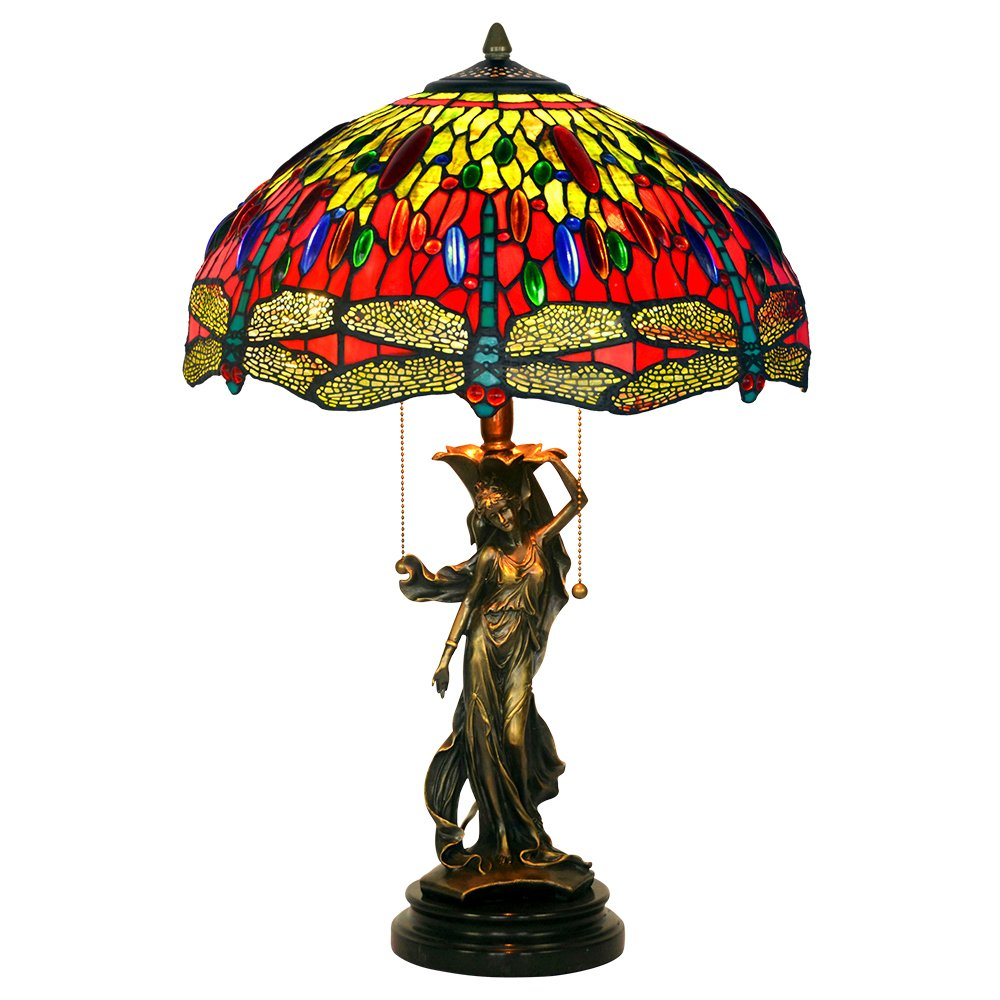 Bieye L10196 16-inch Dragonfly Tiffany Style Stained Glass Table Lamp with 100% Brass Girl Base (Red Dragonfly)
